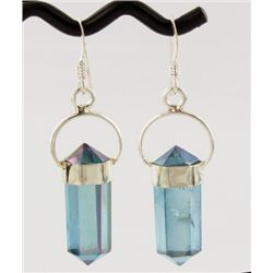 30twc Aqua Aura Quartz Crystal Sterling Earrings (JEW-1719)