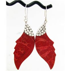 25twc Red Coral Sterling Earrings (JEW-3442)