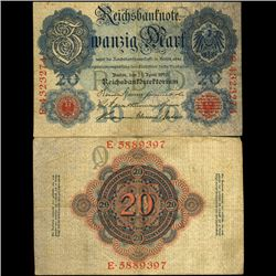 1910 Germany 20 Mark Note Hi Grade (COI-3896)