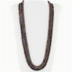 Black Saltwater Pearl Three Strand Necklace (JEW-250I)