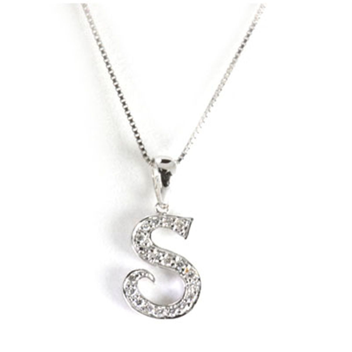 r collane letter white cubic gold s silver necklace diamonds rhodium in pendant with and en initial argento zirconia plated