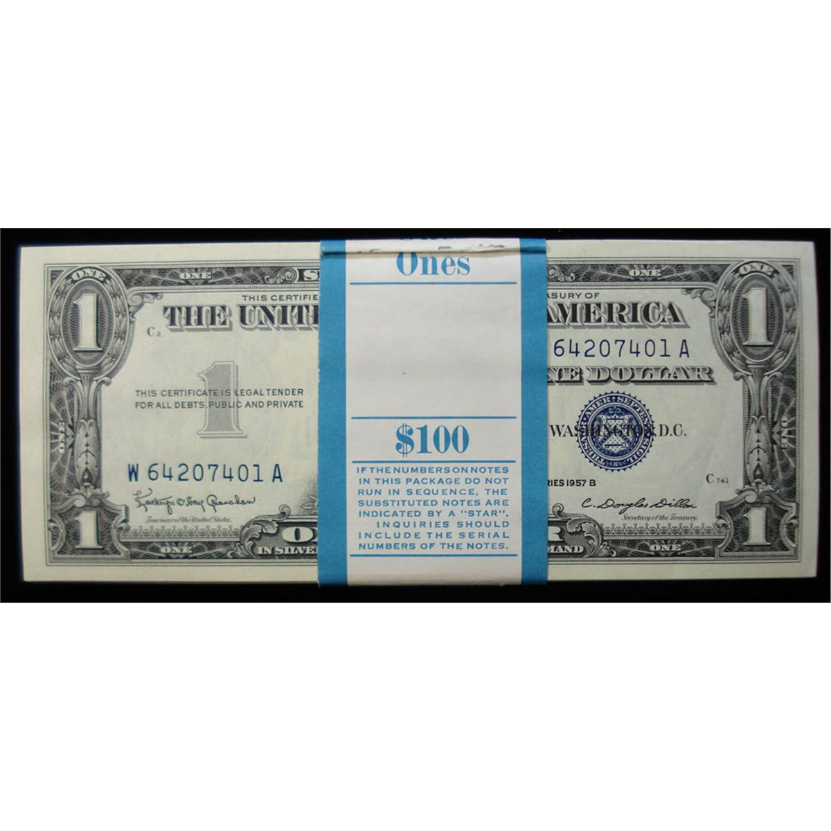 Pack Of One Hundred One Dollar 1957 B Silver Certificates Super Unc