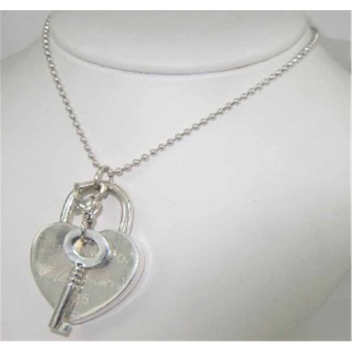 Tiffany co silver heart lock key pendant necklace aloadofball Gallery