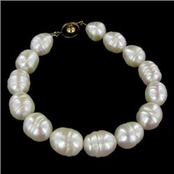 Saltwater Baroque White Pearl Bracelet (JEW-250A)