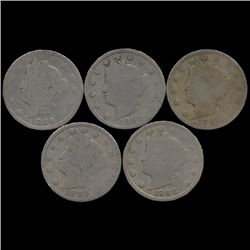 1896 Liberty Nickel Better Circulated Lot of 5 (COI-7625)