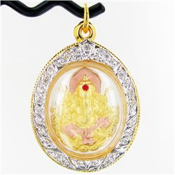 131twc Lab Diamond/Ruby Ganesh Amulet Pendant (JEW-3546)