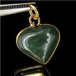 15twc Green Jade Heart Gold Vermeil Pendant (JEW-3597)