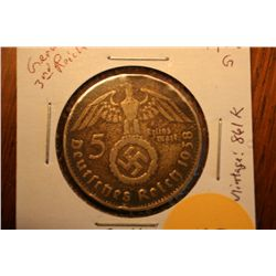 "1938G Nazi Third Reich 5 Mark ""Silver"""