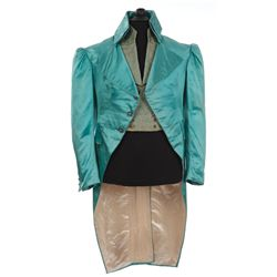George Sanders teal satin coat & vest and Virginia Field silk period dress from Lloyd's of London
