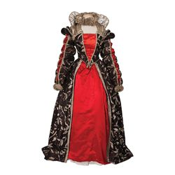 Florence Eldridge black, red & silver period gown designed by Walter Plunkett from Mary of Scotland