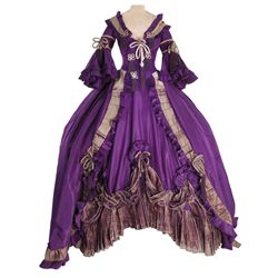 Norma Shearer purple period gown and hat attributed to Adrian