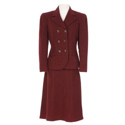 """Dorothy Lamour """"Lucky Dubarry"""" maroon suit designed by Gwen Wakeling from Johnny Apollo"""