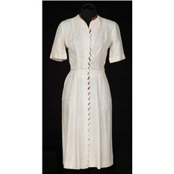 Dorothy McGuire ivory linen dress designed by Bonnie Cashin and Rene Hubert from Claudia