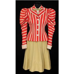 Betty Grable orange, ivory & yellow striped dress from Mother Wore Tights