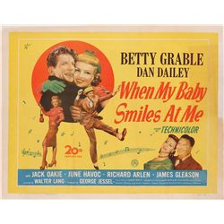 When My Baby Smiles at Me original U.K. half-sheet poster on linen