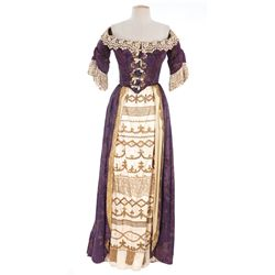 Linda Darnell dark purple brocade period dress designed by Michael Woulfe for Blackbeard, the Pirate