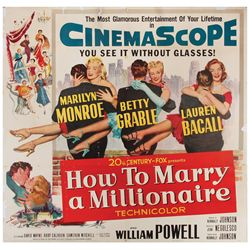 How to Marry a Millionaire original U.S. six-sheet poster on linen