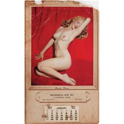 Marilyn Monroe original Golden Dreams 1953 nude calendar with embossed-box set of nude playing cards