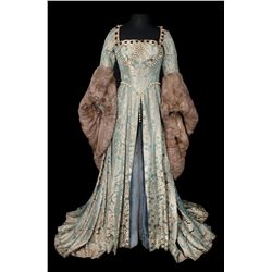 Deborah Kerr blue & gray damask period gown with fur trim designed by Walter Plunkett for Young Bess