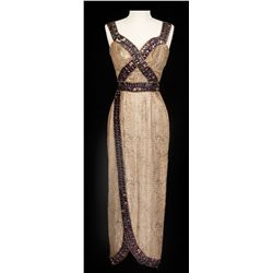 "Rhonda Fleming ""Cleopatra"" gold metallic dress designed by Jean Louis from Serpent of the Nile"