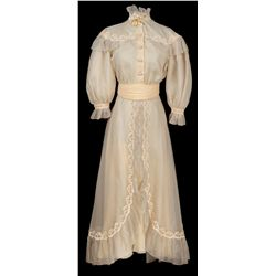 "Katharine Hepburn ""Lizzy Curry"" pale yellow dress designed by Edith Head from The Rainmaker"