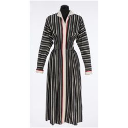"Katharine Hepburn ""Bunny Watson"" striped dress designed by Charles Le Maire from Desk Set"