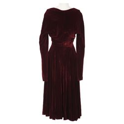 Kim Novak wine velvet dress designed by Jean Louis from Bell, Book and Candle