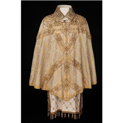 Richard Burton 3-piece silk, pearl & gold bullion vestments of tunic, cape & collar from Becket