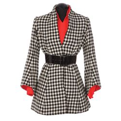 Goldie Hawn micro-mini dress with black & white checked wool jacket from Cactus Flower