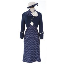 Debbie Reynolds navy & white wool 2-piece dress with matching hat from What's the Matter with Helen?