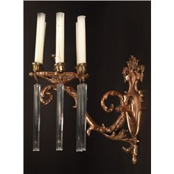 Set of six (6) bronze six arm sconces with pendants from numerous MGM productions