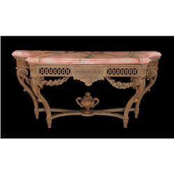 French console table with faux marble top used in numerous MGM productions