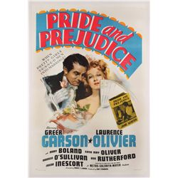 Pride and Prejudice original U.S. 1-sheet on linen