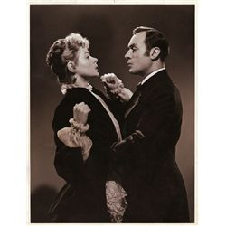 Gaslight pair of vintage MGM portrait double-weight stills of Ingrid Bergman and Charles Boyer