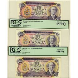 1971 $10 BC-49cA *D/Y $10 BC-49dA EDX, $10 BC-49bA *D/K lot of 3 notes all PCGS EF45.