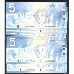 2001 $5 BC-62a #AOF3524653-4655 & BC-62bA Sheet Replacement notes#HNR9472679-80.  Lot of 5 notes all