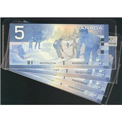 2005 $5 BC-62bA Sheet Replacement notes.  Lot includes #HOH6530993-997, HOW9858859-862, HOZ3111556-5