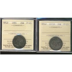 Nfld 1872H & 1881 20¢ ICCS F15.  Lot of 2 coins.