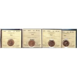 2006 1¢, 2007, 2008 & 2010 ICCS MS66RD.  Lot of 4 coins.