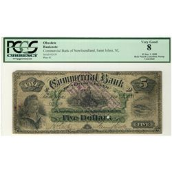 The Commercial Bank of Newfoundland 1888 $5 #02639, PCGS VG8. Scarcer Canceled example with punch an