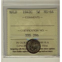 Nfld 1942c 5&#162; ICCS MS64.