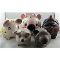 Savings Still Banks.  Lot of 7 different Piggy banks, tinted glass, ceramic & plated.  3 ceramic exa