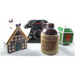 Savings Banks.  Lot includes 3 different hand painted ceramic issues.  Mountain Dew Whiskey jug, Cot