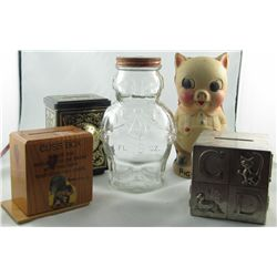 Savings Still Banks.  Lot includes Gattuso Bambino Olives Piggy Bank, hard plastic old time Piggy ba