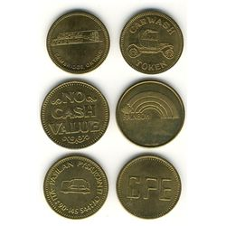 Tokens.  Canadian Car Wash Tokens.  Includes Ontario Carwash tokens from, Rainbow Carwash(19), Hespe