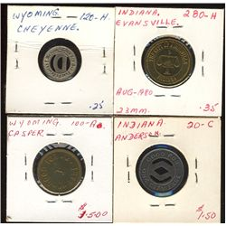 Tokens.  US Transportation Tokens.  Includes 141 Indiana Tokens and 17 Wyoming tokens.  All in indiv