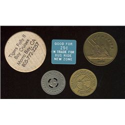Tokens.  US Transportation Tokens.  Includes California to Florida issues all in individual envelope