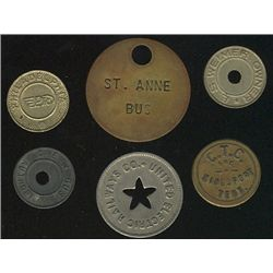 Tokens.  US Transportation Tokens.  Includes Pennsylvania to Texas issues all in individual envelope