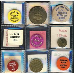 Tokens.  US Transportation Tokens.  Includes Arkansas to New Jersey issues all in individual envelop