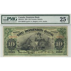 Dominion Bank of Canada 1925 $10 #320761 CH-220-18-10 PMG VF25 Net.  Designated repaired.
